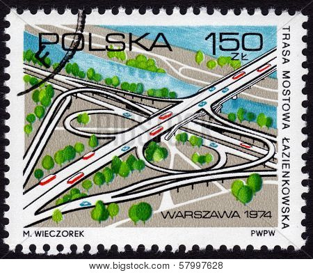 Polish Stamp Showing A Cloverleaf Interchange