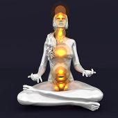 foto of kundalini  - A woman performing a full chakra meditation - JPG