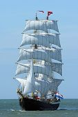stock photo of sail ship  - A Dutch sailboat at sea - JPG