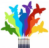 foto of paint brush  - Eight paint brushes drawing a colorful rainbow of a butterfly swarm - JPG