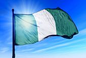 picture of nigeria  - Nigeria flag waving on the wind on the sky - JPG