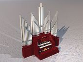 picture of pipe organ  - Close up of beautiful pipe organ instrument on grey ground - JPG