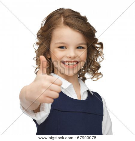 happy children and gestures concept - picture of beautiful pre-teen girl showing thumbs up