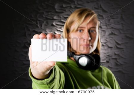 Discjockey With Business Card