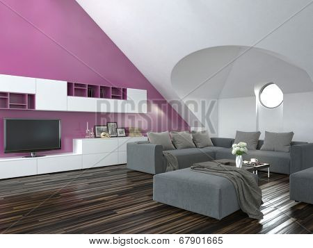 Modern loft living room interior with a sloping ceiling and purple accent wall with a grey lounge suite and parquet floor