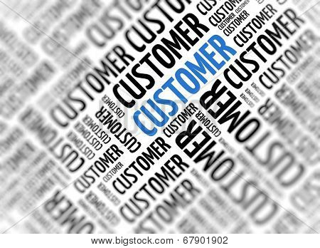 Marketing background with the word - Customer - repeated in random sizes and orientations in black text with one central word in large blue uppercase lettering and selective focus