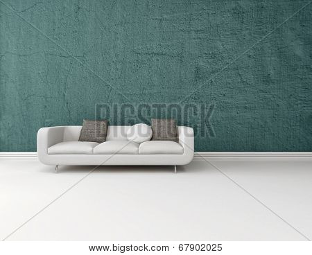 Interior decor background with a modern generic white sofa on a blue wall with a white floor with a skirting board and plenty of copy space