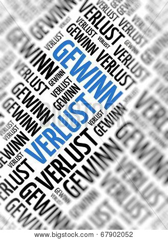 Background with german word - Gewinn Verlust (profit loss) - repeated in random sizes and orientations in black text with one central word in large blue uppercase lettering and selective focus
