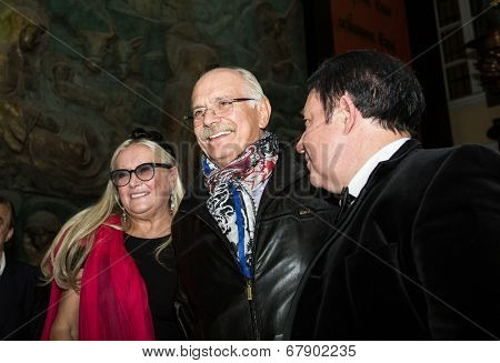 MOSCOW - JUNE, 26: T.Mikhalkova, Nikita Mikhalkov. �?��?�¡harity  foundation Russian Siluet. Fashion show  at the Russian Academy of art . June 26, 2014 in Moscow, Russia