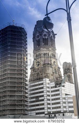 Kaiser Wilhelm Memorial Church, Berlin Germany Shoot Through A Colored Car Window