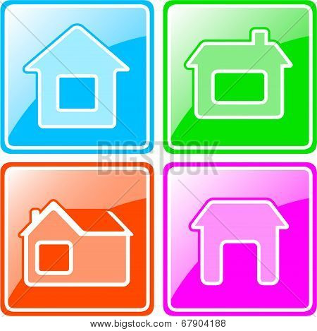 set Colorful Icons With Cottage