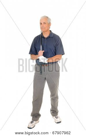older golfer isolated on white with his club over his shoulder