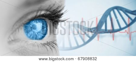 Blue eye on grey face against blue medical background with dna and ecg