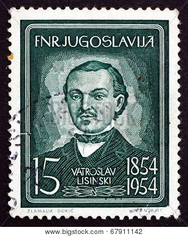 Postage Stamp Yugoslavia 1954 Vatroslav Lisinski, Croatian Composer