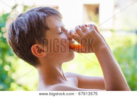 Little Boy Drink Multivitamin Juice