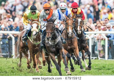 Jockeys Into Last Curve At The Nationaldags Galoppen With The Crowd Behind