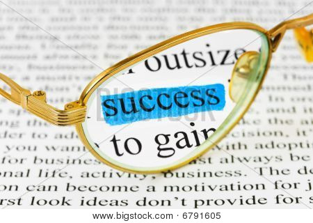 Glasses On Business Text And Word Success