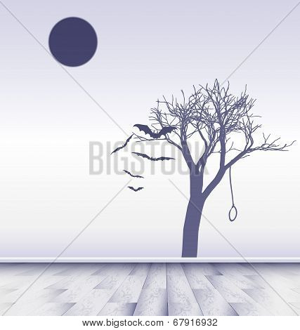 white room with image of sad moon