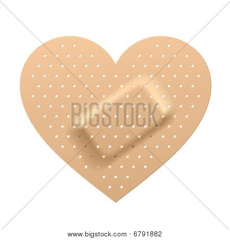 Plaster in shape of heart. Vector.
