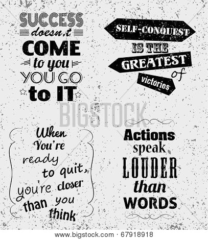 Set of Quotes Typographical Posters, Vector Design. Motivational Success Quotes for Inspirational Art