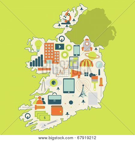 Map Of Ireland With Technology Icons