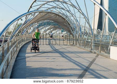 Jogging On Helix Bridge In Singapore