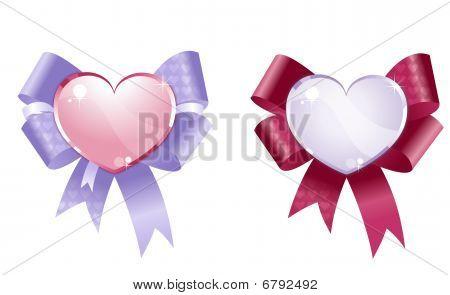 Decorative hearts and ribbons