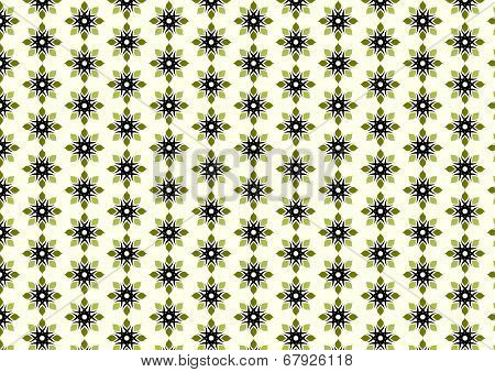 Retro Blossom And Tribal Pattern On Pastel Background