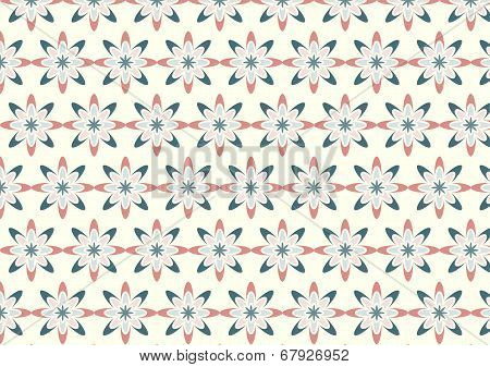Abstract Red Bloom Pattern In Boomerang Shape On Pastel Color