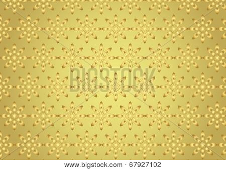 Gold Abstract Bloom Pattern In Boomerang Shape On Pastel Color