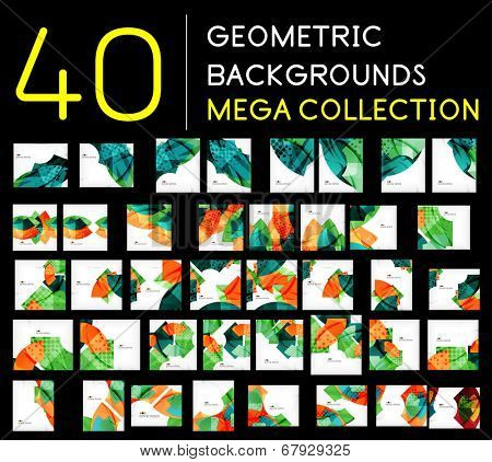 Huge mega collection of 40 geometric shape abstract backgrounds. Templates made of semicircles pieces in glossy style