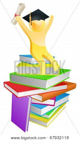 Graduate Gold Person And Books