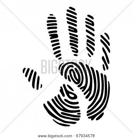 black hand print with fingerprint pattern