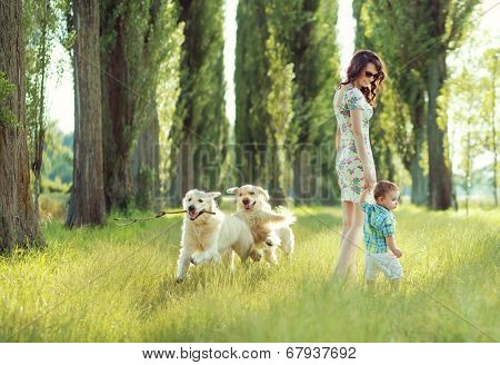 Young mother with toddler and dog