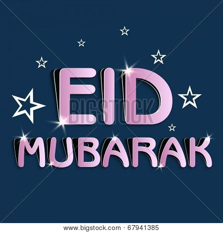Beautiful greeting card design with pink text for the celebrations of Muslim community festival Eid Mubarak celebrations.