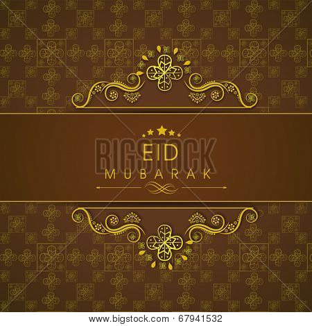 Beautiful golden floral design decorated Eid Mubarak greeting card design for Muslim community festival Eid Mubarak celebrations.