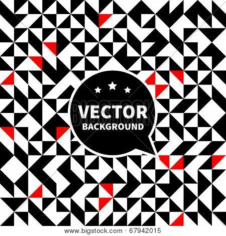 Vector Background Pattern, White Black Red Triangle.