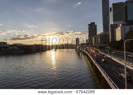 Brisbane cityscape sunset