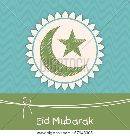Muslim community festival greeting card design with green crescent moon and star for the festival of Eid Mubarak celebrations.