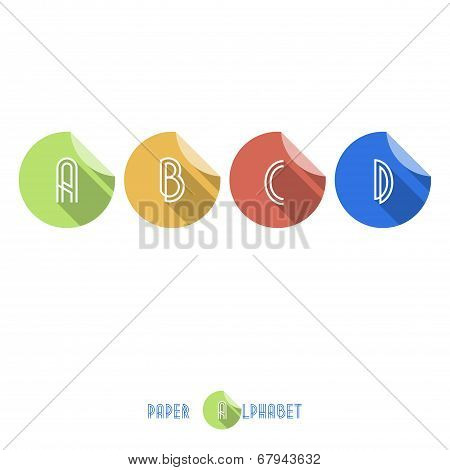 A B C D - Flat Design Paper Button Alphabet