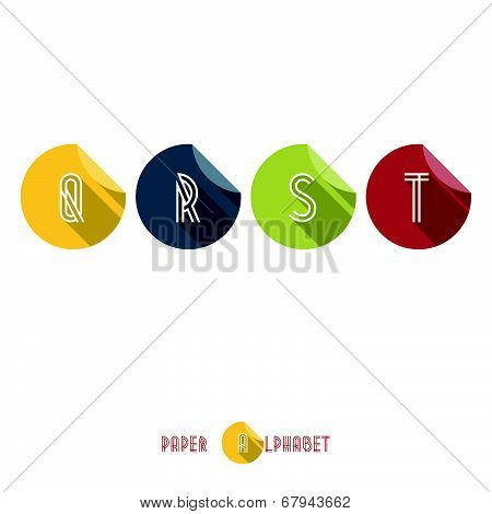 Q R S T - Flat Design Paper Button Alphabet