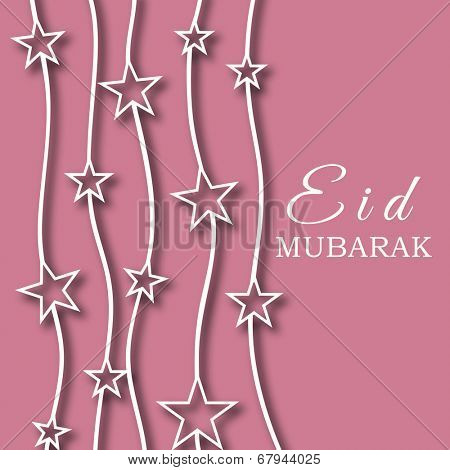 Beautiful pink greeting card design decorated with stars for the occasion of Muslim community festival Eid Mubarak.