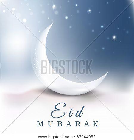Beautiful crescent moon in the sky muslim community festival Eid Mubarak night concept.