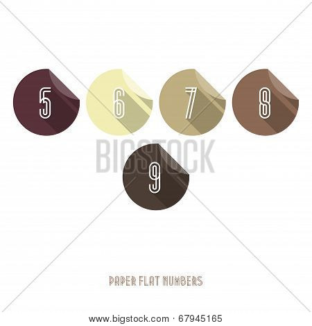 5 6 7 8 9 - Flat Design Paper Numbers Buttons
