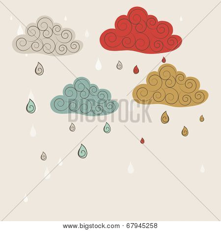 Colorful raindrops coming from floral decorated colourful clouds on abstract background for monsoon season.