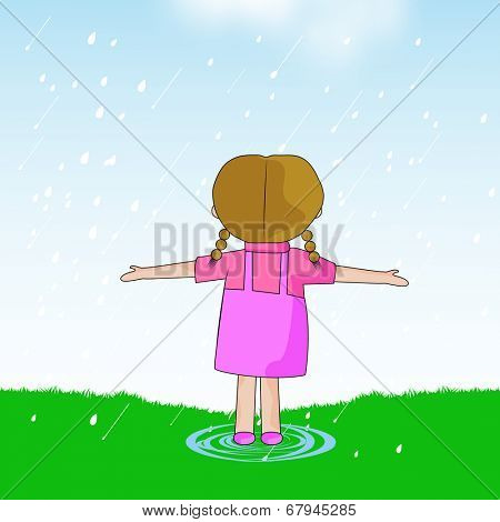 Cute little girl extending her arms and enjoying raining on nature background.
