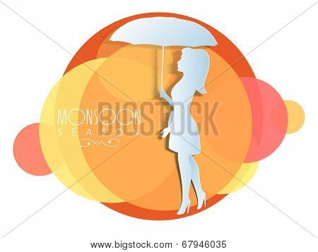 White silhouette of young girl holding umbrella on colourful abstract background.