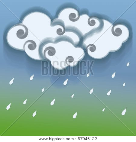 Raindrops falling from clouds on nature background for monsoon season.