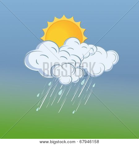 Monsoon season background with sun, raindrops coming from clouds on nature background.