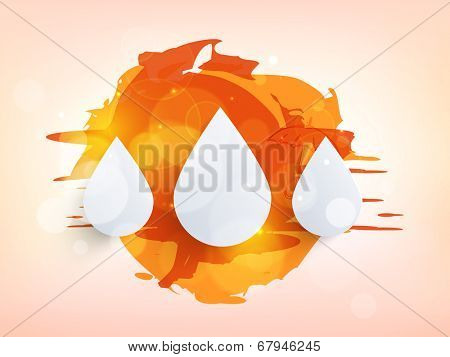 Stylish white raindrops on colourful abstract background for monsoon season.